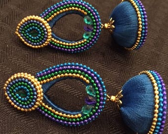 Blue Silk Thread Stone Dangling Earrings with Bead Work