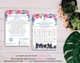BOTH CARDS, Monat Market Partner Benefits, Monat Systems, Custom Monat Hair Care Card, Fast Free Personalization, Monat Business Cards MN05