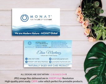 Monat Business Card, Custom Monat Business Card, Monat Watercolor Business Card, Custom Monat Hair Care Card, Printable Business Card MN06
