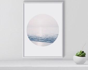 Blue Sea Art Print, Minimal Wall art Scandinavian art Nordic Nature Print Minimal Modern art Contemporary Ocean, Art Print, Wall Decal