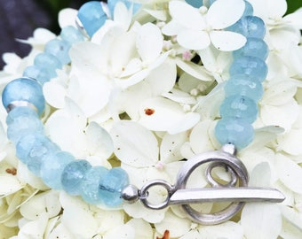 Cerulean aquamarine pearl bracelet with hand-forged sterling silver toggle clasp