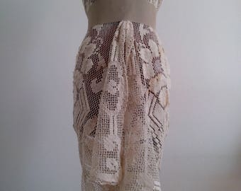 Vintage Sarong, Pareo, bathing suit, maillot, filet crochet, ladies fashion, trends, swimwear, handmade, Swimsuit, swimsuit