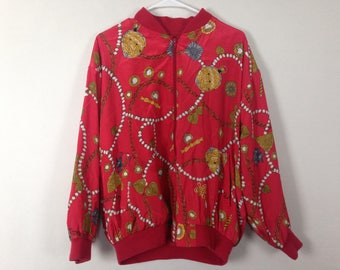 red royalty chain n jewels windbreaker bomber jacket size M
