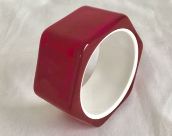 Hot Pink Resin Bangle Bracelet, Brighter Than Pictures, Small Size, Plastic, Hexagon, Handmade, Vintage, 1980s