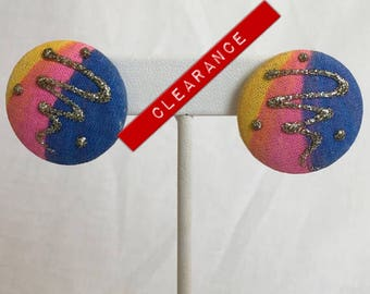 CLEARANCE 80s Blue Pink Yellow Fabric Button Vintage Pierced Earrings With Silver Glitter