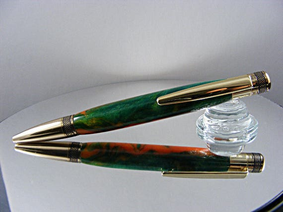 Handcrafted Knurled Ink Pen in 24K Gold and Cantaloupe Acrylic
