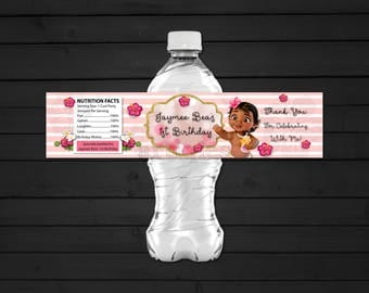 Personalized Baby Moana Vaiana Water Bottle Label  Birthday Party Pink Stripes Bokeh Tropical Flowers Hibiscus Printable DIY - Digital File