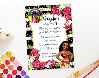 Personalized Moana Photo Card Birthday Invitation Invite Printable Black White Stripes Gold Confetti Hibiscus Flowers DIY - Digital File
