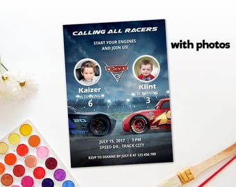 Personalized Cars 3 Joint Birthday Party Celebration Photo Card Invitation Invite Lightning Mcqueen Jackson Storm Printable DIY-Digital File