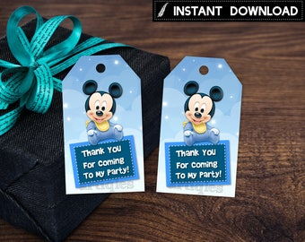 Instant Download - Baby Mickey Mouse Thank You Tag Clouds and Stars First 1st  Birthday Party Baby Shower Printable DIY - Digital File