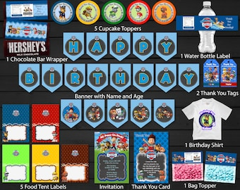 Paw Patrol Birthday Party Package Kit Bundle For Boy Printable Banner Invitation Thank You Card Tags Bag Topper Cupcake Topper Food Tent
