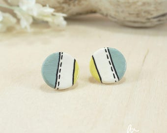 graphic stud earrings, minimal, modern, blue, yellow, lines, porcelain, ceramic, perfect birthday gift