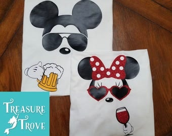 Mickey & Minnie Drinking Shirts / Epcot Food and Wine / Couples Disney Shirts