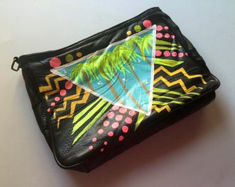80's Palm Handpainted Vintage Leather Purse