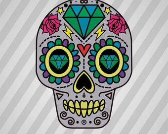 Decorative Sugar Skull - Svg Dxf Eps Silhouette Rld Rdworks Pdf Png Ai Files Digital Cut Vector File Svg File Cricut Laser Cut
