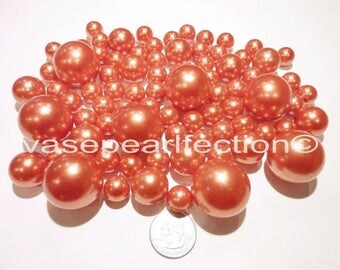 All Orange Pearls/Deep Coral Pearls Vase Fillers in Jumbo and Assorted Sizes for Floating Pearl Centerpieces