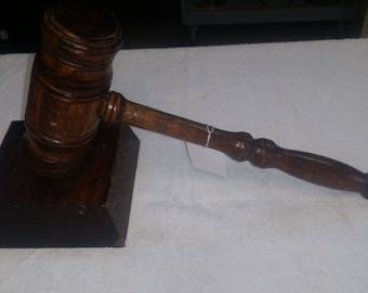 1950s hand made gavel with a stand