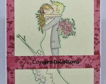 Handmade Wedding Card - Anniversary Card - Congratulations Card - Pink & Red Card - Bride and Groom Card - Homemade Card