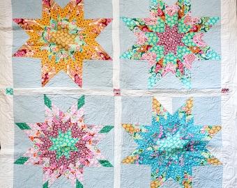 Four Very Big Stars Handmade Quilt