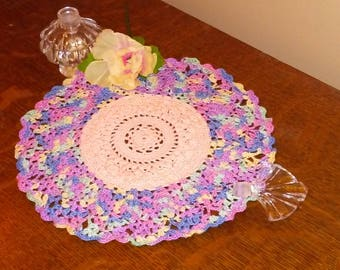 Peach and Variegated Flower Doily