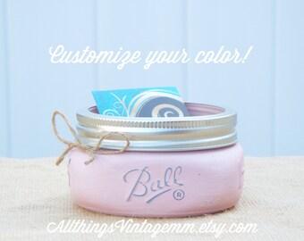 Mason Jar business card holder,office decor,Mason jar decor,farmhouse decor,rustic office decor,rustic decor,pink office decor