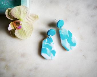 Polymer clay dangle earrings statement geometric abstract earrings  clay jewellery dangles drops teardrop earrings handmade modern jewelry