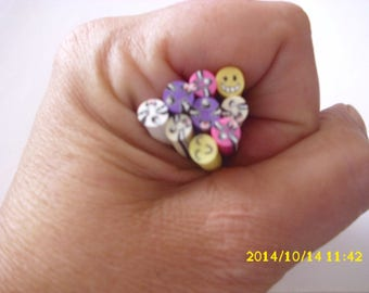 set of 9 + 1 free cane polymer clay for nails 5 x 4-5 mm