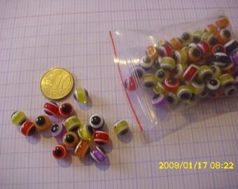 """set of 80 """"evil eye"""" acrylic beads 8 mm (1.1 mm hole)"""