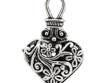 set of 2 pendant heart engraved silver 31 X 19 mm