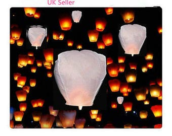 20 White Flying Sky Khoom Fay Kong Ming Floating Lanterns UFO Balloon(eco friendly)