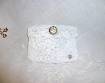 small pouch, coin purse crochet white