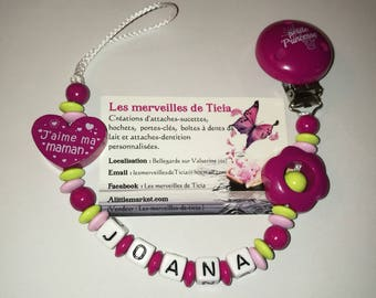 """Pacifier clip personalized """"I love my mommy"""""""