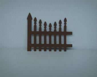 """Cut fence """"U"""" for scrapbooking and card Brown drawing paper"""