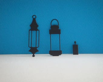 All lanterns and its black candle for scrapbooking and card