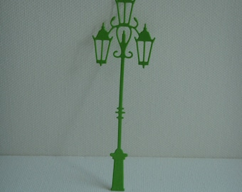 Cutting floor lamp in drawing paper green light 3 lights for scrapbooking or card