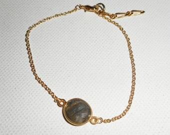 Gold plated green labradorite stone on chain bracelet