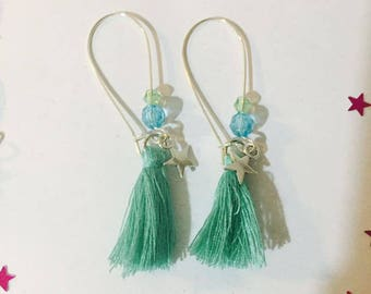 Earring ear tassels dangling green turquoise charms
