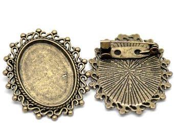set of 2 brackets color vintage brooch bronze cabochon 25 x 18 mm