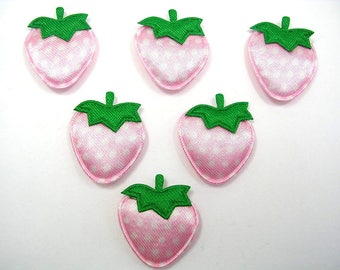 LOT 6 APPLIQUES: Strawberry pink clear/white 23mm