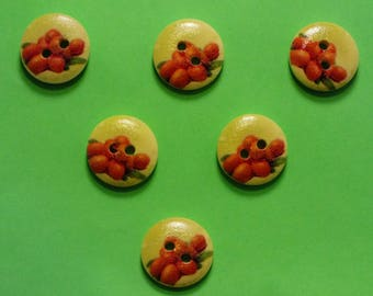SET of 6 wood buttons: fruits pattern lychee 15mm round