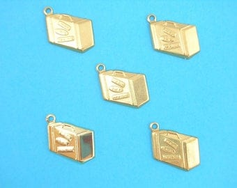 SET 5 CHARMS METALS Gold: Suitcase 18 mm