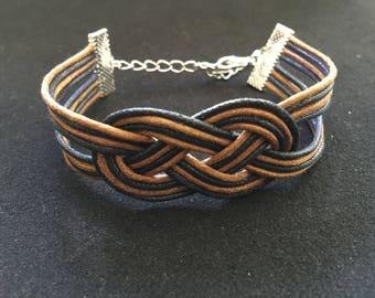 Bracelet mode noeud marin coton cire noir et marron