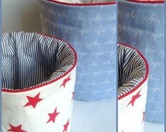 Set of two storage baskets, baskets reversible Scandinavian inspiration.  Assortment of stars, striped fabrics and patterns school notebook.