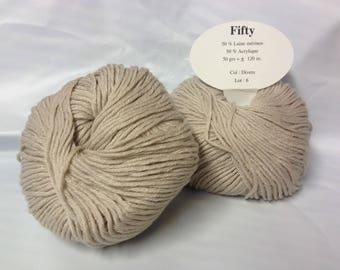 knit wool / 10 balls of yarn 50% Merino / beige / made in FRANCE