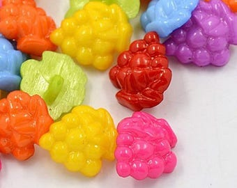 set of 20 buttons 17mm grapes multicolored sewing notions new scrap
