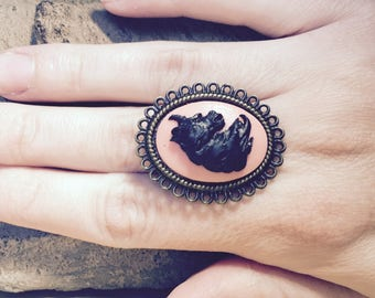 Pink and black Unicorn cameo ring