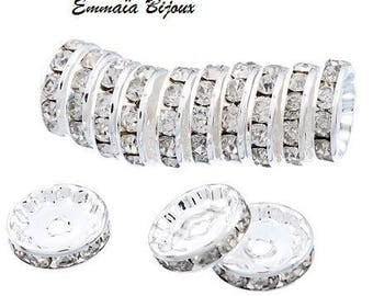 12 mm rhinestone spacer rondelle bead