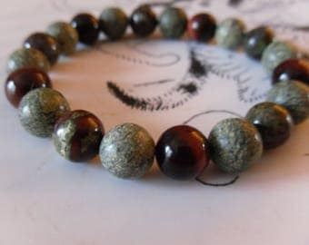 Russian Serpentine, Dragon's blood, red Tiger eye beaded men bracelet