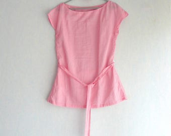 Sleeveless tunic striped pink and Fuchsia, women size S 36/38