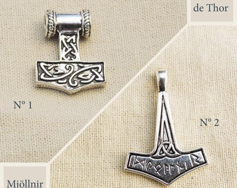 Pendant hammer of Thor silver antique - choice of patterns
